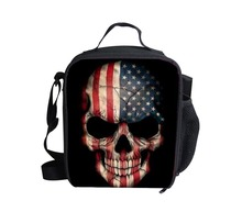 New Fashion 2014 Kids Designer Skull Lunch Bags for Food,Thermal Bags Skull Lunch Box,Boys Picnic Bag Retail And Whosesale(China (Mainland))