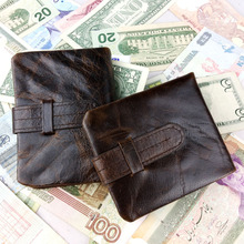 2014 New Vintage Casual Genuine Leather Cowhide Oil Wax Leather Men Short Bifold Wallet Wallets Purse Coin Pocket  For Men 519