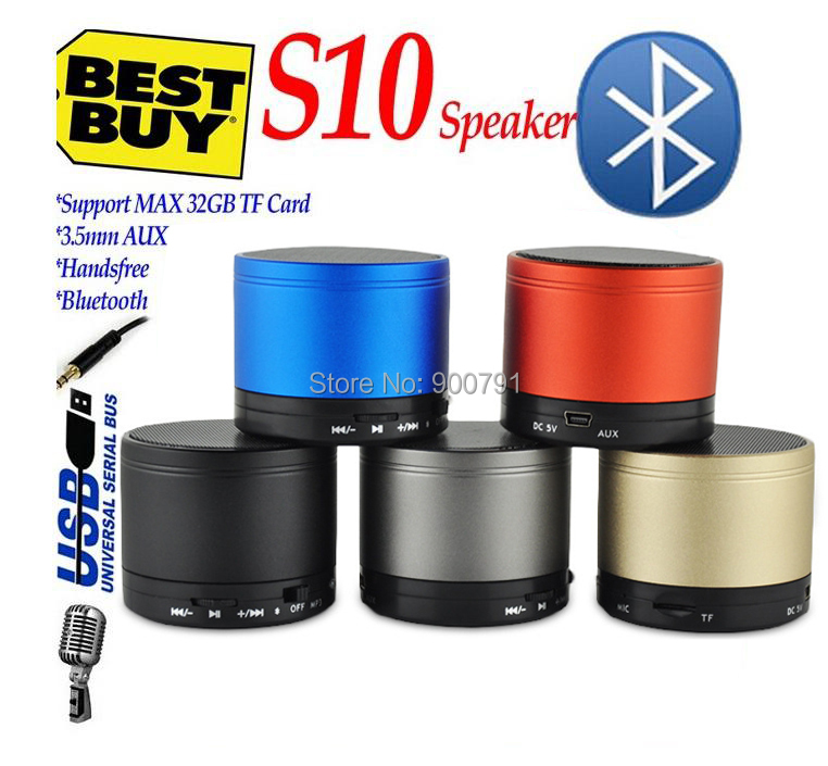 HOT! S10 Mini Wireless Stereo Bluetooth Speaker Metal Compact Bluetooth V3.0 Mini Speakers Speakerphone for iPhone Samsung PC(China (Mainland))
