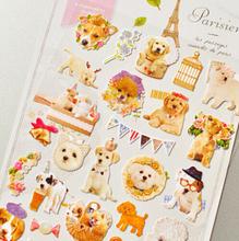1Sheet New Cute Paris Dog Decorative Sticker Diary Album Label Sticker DIY Scrapbooking Stationery Stickers H1252