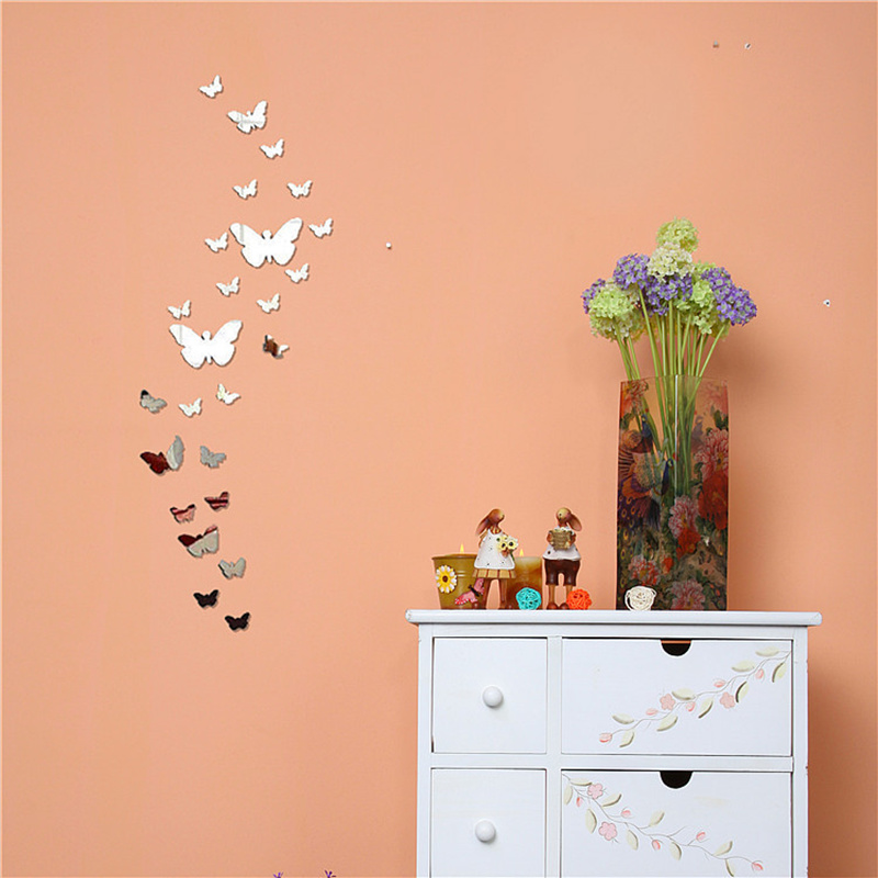 Wholesale 25PCS/1Set 3D Butterfly Mirror Wall Sticker Home Decorations DIY Silver Gold Black Large Decals 3 Colors(China (Mainland))