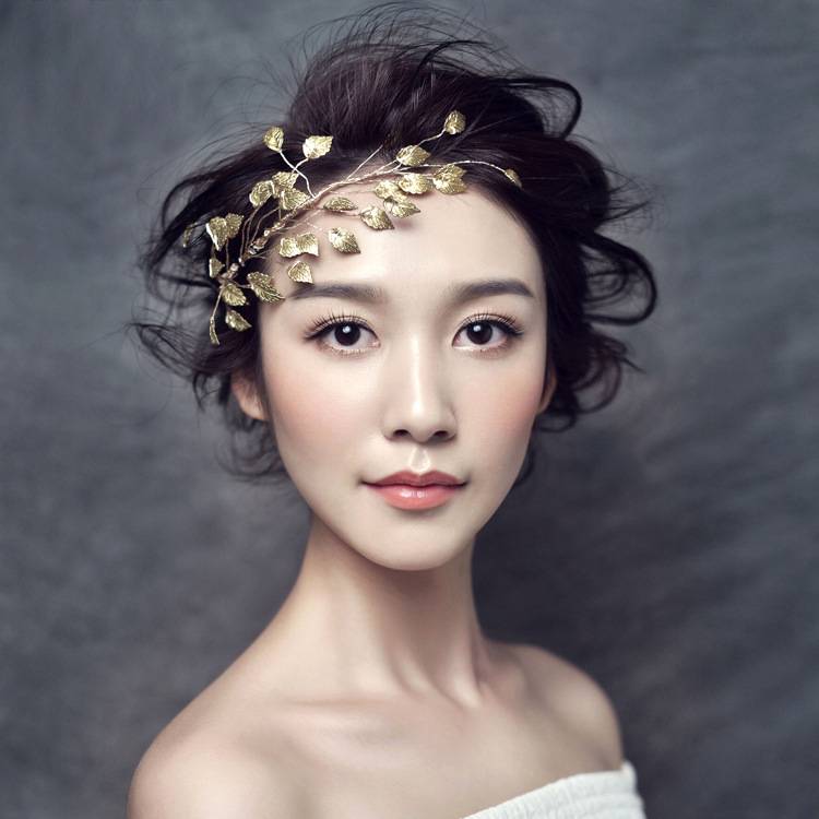 Luxury Design girl personalityBaroque Headband wedding hair decoration bridal hair pins Retro Gold Leaf crown tiara(China (Mainland))