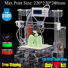 2016 Upgraded Quality High Precision Reprap Prusa i3 DIY 3d Printer kit with 2 Rolls Filament +8GB SD card+ LCD+DHL Shipning