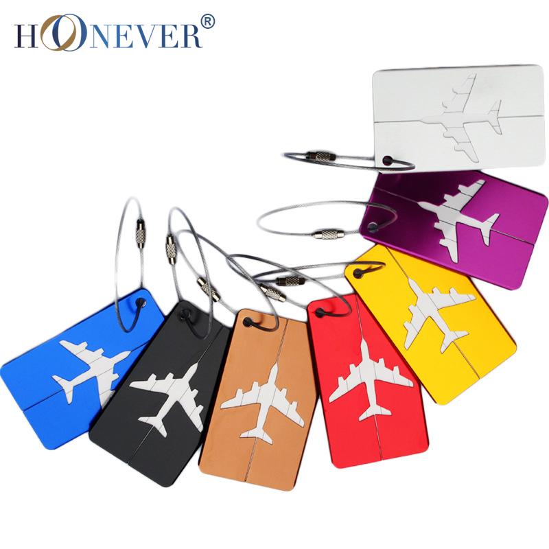 Гаджет  2pcs Aluminum Luggage Tag Metal Boarding Aircraft Plane Shape Suitcase Tag Label Name Address Holder Hangtag None Камера и Сумки