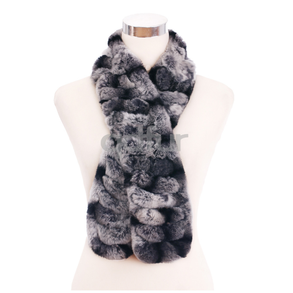 2014 Autumn Lady Genuine Knitted Rex Rabbit Fur Scarves Wraps Winter Women Fur Accessory Neckwarmers Females Neckerchief QD30467(China (Mainland))