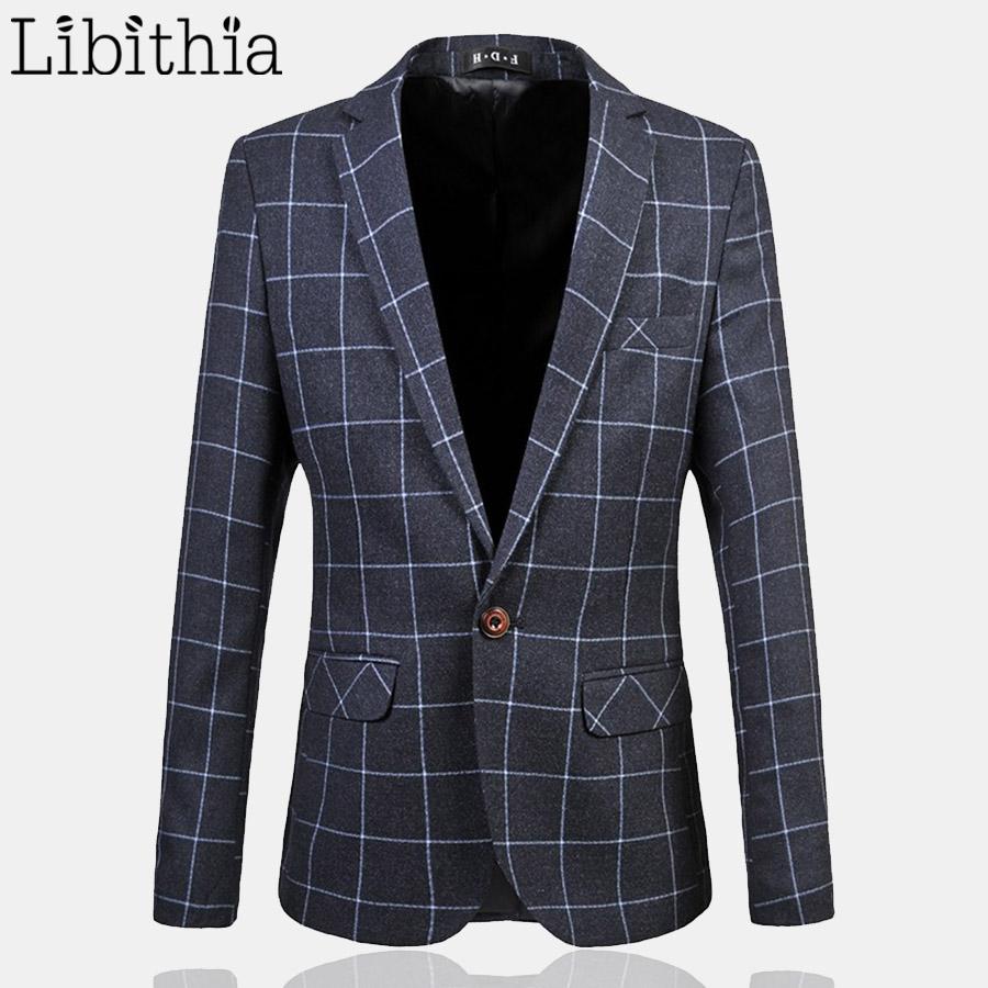 plaid mens blazer coat jacket casual suit slim fit designs. Black Bedroom Furniture Sets. Home Design Ideas