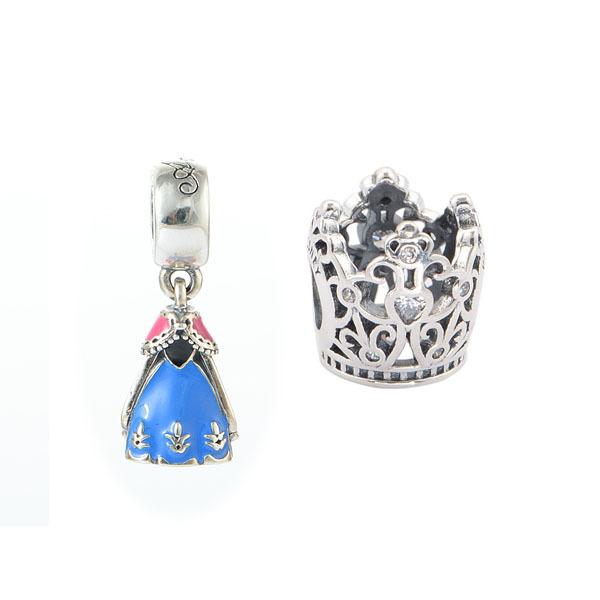 925 серебряные ювелирные изделия принцесса корону бусины и анна платье подвески приспосабливать европейские браслеты женщин DIY ювелирных продвижение