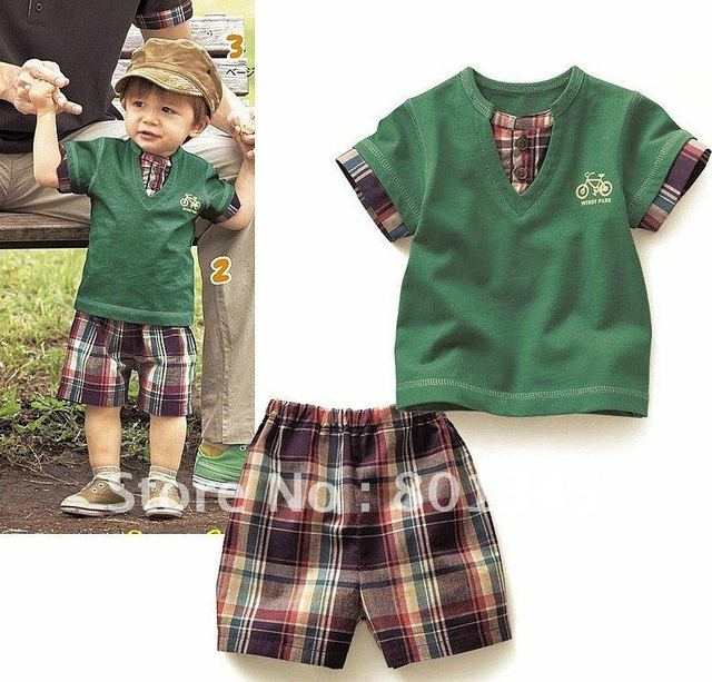 Free Shipping,1set,summer Grid design kids children brand set,cotton clothes,boy Beach set,T-shirt pants set,1-7T,green