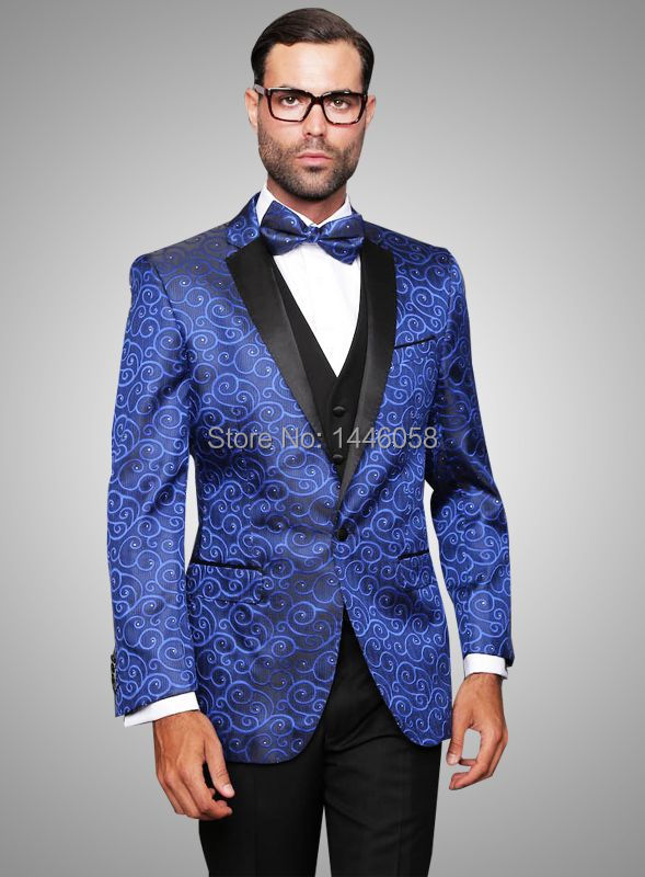 (Jacket+Pants+Vest+Tie) 2017 Royal Blue Men Suit Fashion ...
