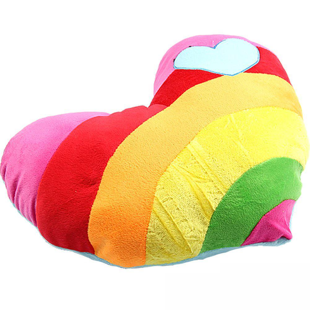 LNHF 5pcs/lot Lovely Soft Stuffed Plush Cushion Nap Rainbow Love Heart Pillow Toys Heart(China (Mainland))