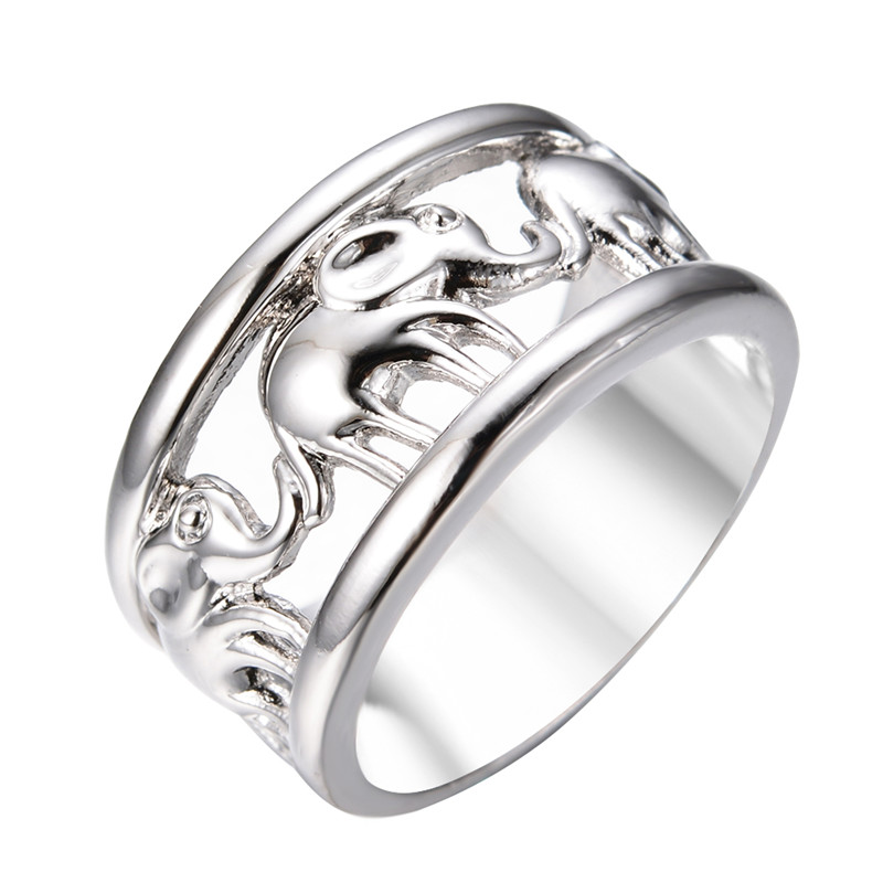 unisex style vintage lucky silver elephant rings for