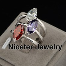 Niceter Brand Wholesale 3Colors Options New Fashion Party Exaggerated Ring For Woman Made With Swarovski Element BBR_00288