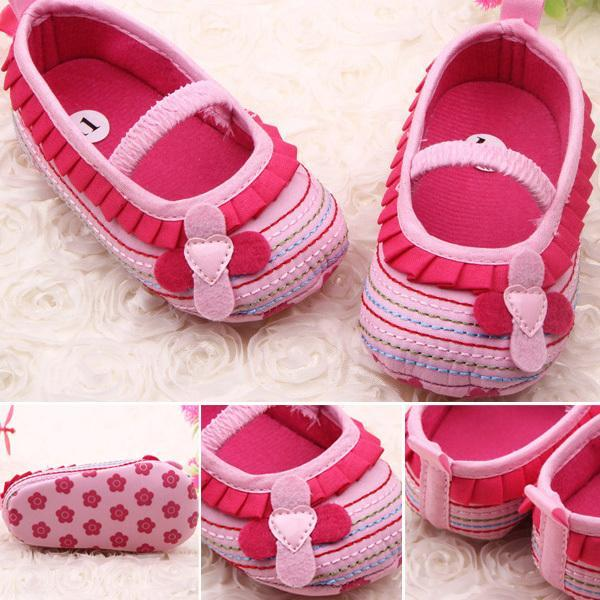 Baby Girl Crib Shoes Flower Ruffled Soft Sole Comfort Bottom Toddler First Walkers - One More Chance store