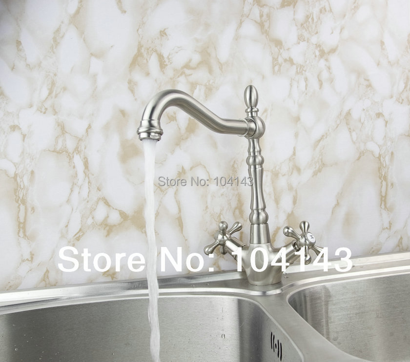 8632-5 Great Two Handles Nickel Brushed Dual One Bath&Kitchen Basin Faucet Mixer Tap Kitchen Faucets(China (Mainland))