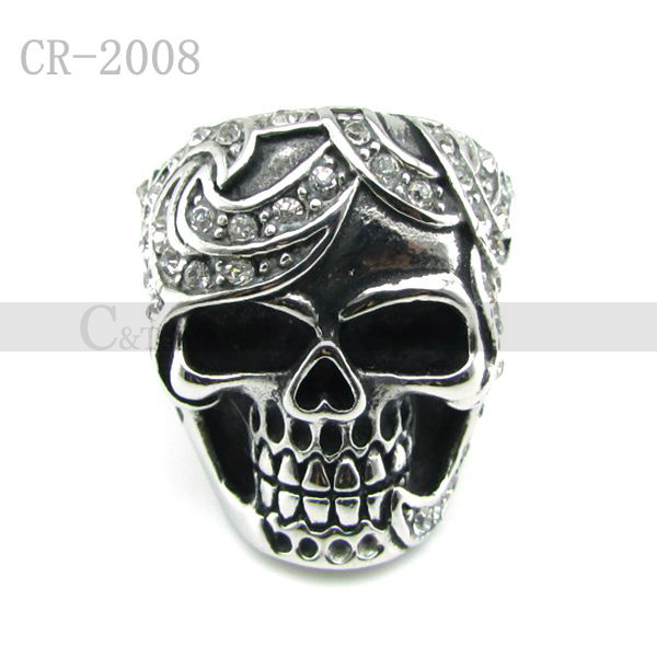 Free Shipping! Wholesale 5pcs/lot Men's Ghost Crystal Skull Head Rings Stainless Steel Heavy Metal Skeleton Ring Punk Jewelry(China (Mainland))