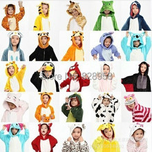 20 Style 2-11 years old Winter Children Flannel Animal pajamas 1 Piece Kid Pajamas Clothes Hooded Romper Sleepwear Without Shoes(China (Mainland))