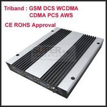 5pcs/lot,579$/piece 3 bands GSM 900Mhz DCS1800Mhz WCDMA 2100Mhz booster,60-70 dbi Triband mobile phone signal booster repeater(China (Mainland))