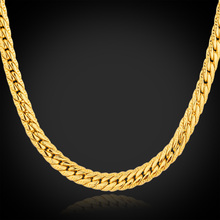 18K real Gold Plated necklace Chain men with 18k stamp Free Shipping 2015 new snake chain for men gift wholesae Men Jewelry N513