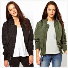 Casual Long Sleeve Basic Jacket Female Short Baseball Coat 2016 Spring Solid Women Bomber Zipper Jackets Short Thin Outwear