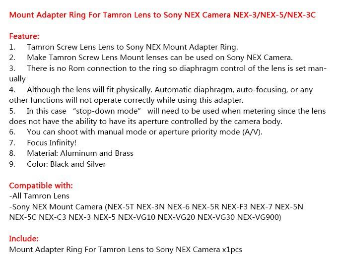 Шнур питания Pixco Tamron Adaptall II Ad 2 Sony NEX NEX3 NEX5 NEX/5n NEX7 NEX /3c Tamron-NEX