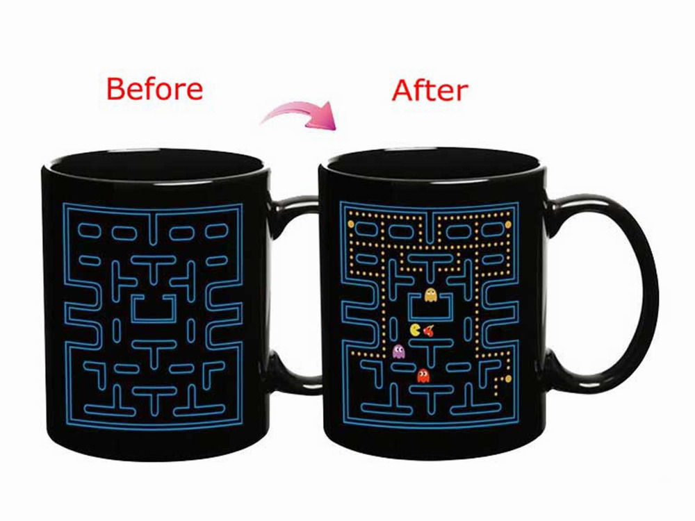 Pac Man Game Heat Sensitive Color Changing Ceramic Mug Black + Blue(China (Mainland))