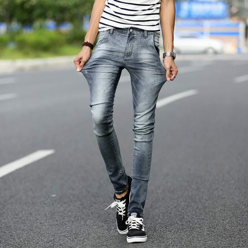 Brand Mens Hip Hop Korean Skinny Jeans Men Fashion Slim Fit Elastic Ripped Jeans For Men Gray