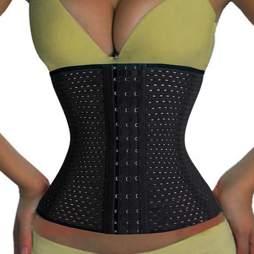 3Rows hooks women slimming Cheap body shaper Bustier belt fashion 4 steel boned waist training corsets black Plus size Shapewear
