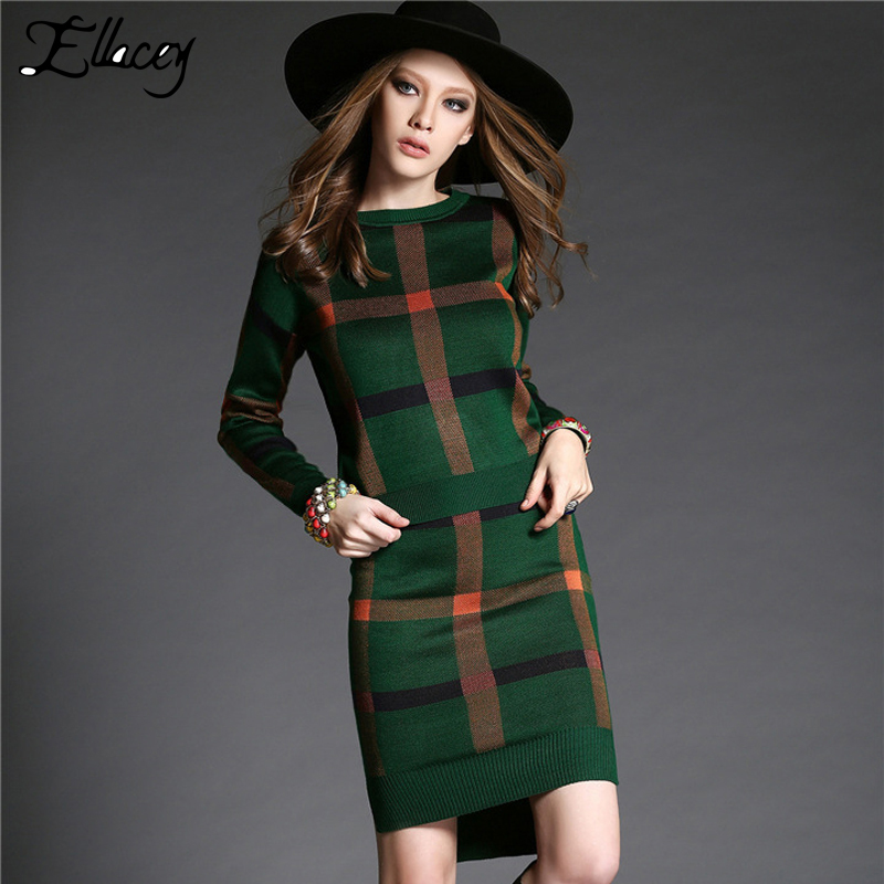 Laluna High-End 2015 Autumn Winter 2 Piece Set Women Knitted Sweater And Skirts Sets Casual Plaid Women Suits Free ShippingОдежда и ак�е��уары<br><br><br>Aliexpress