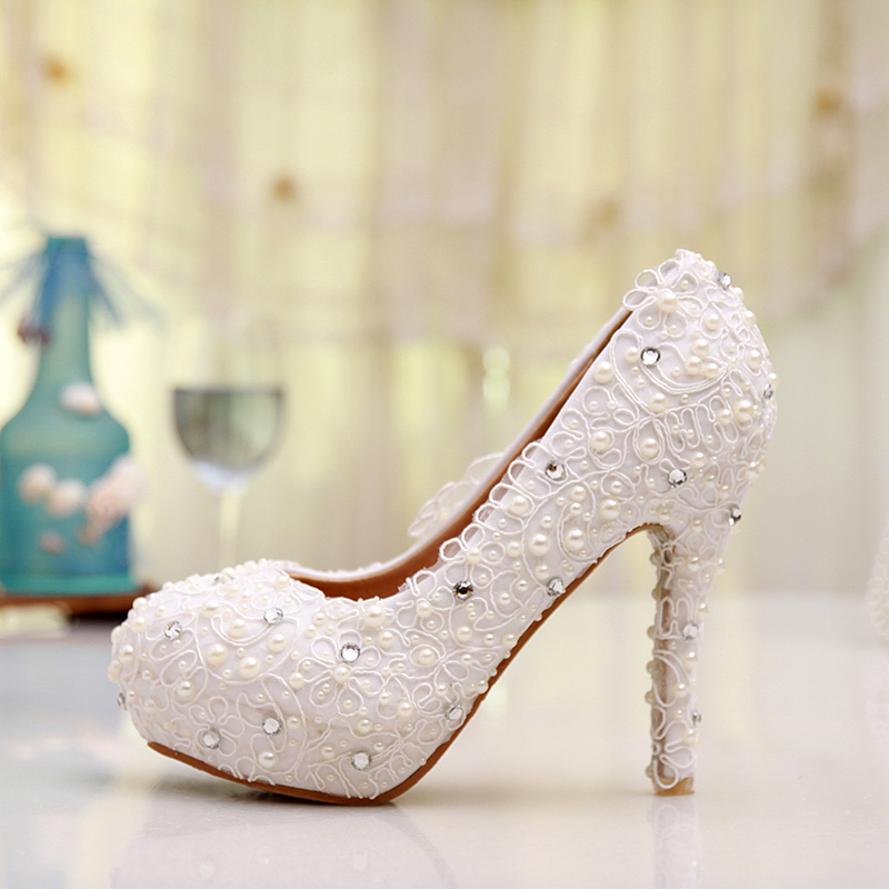 Plus Size Lace Wedding Shoes White High Heel Bridal Comfortable Bridesmaid Prom Evening Dress Pumps - Top Seller Service store