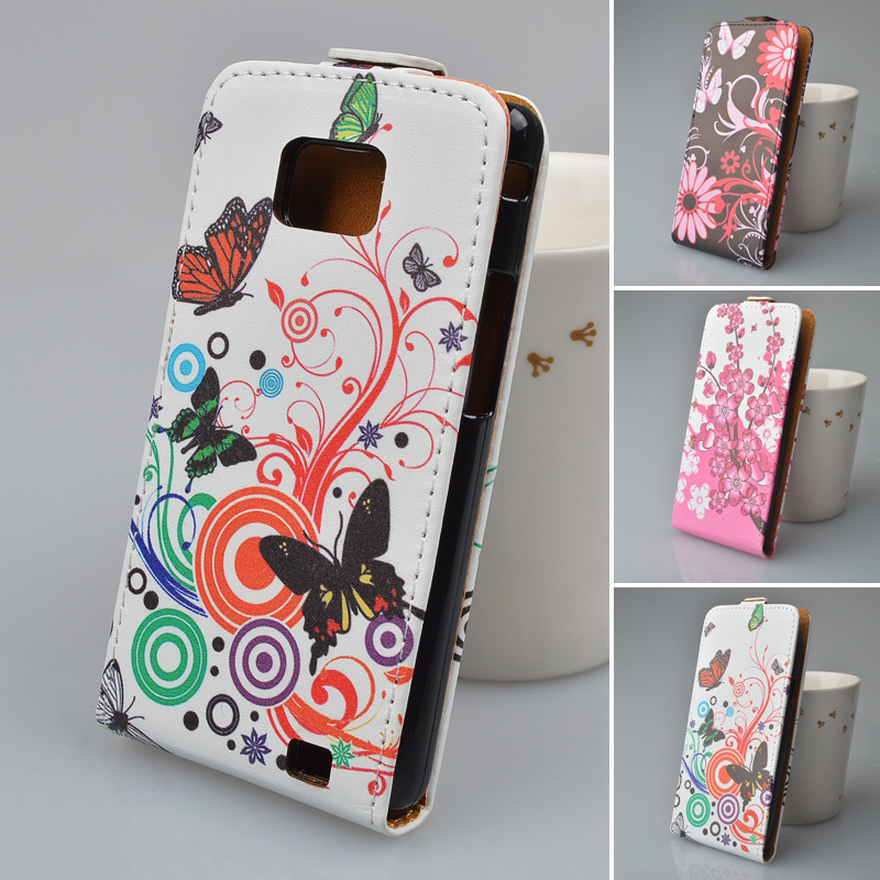 High Quality printing cute pattern on leather Cover For Samsung Galaxy S2 i9100 Flip Case business style(China (Mainland))