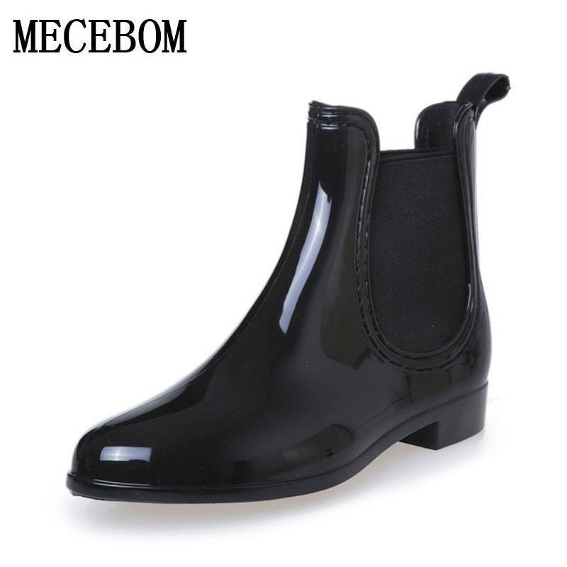 Rubber Boots 2017 Waterproof Trendy Jelly Women Ankle Rain Boot Elastic Band Solid Color Rainy Shoes Women 628W(China (Mainland))