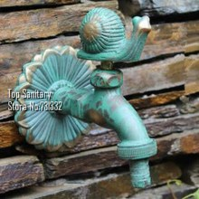 TB9035-2 Decorative outdoor faucets Wall mounted rural animal garden Bibcock with antique bronze snail tap(China (Mainland))
