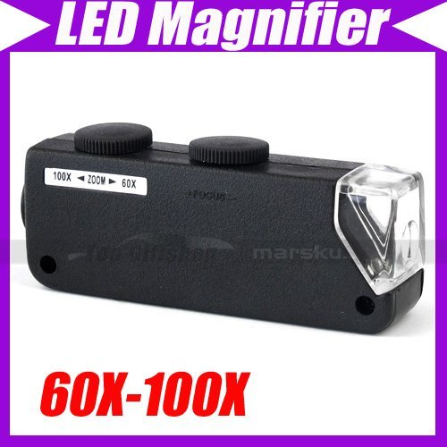 60x-100x Illuminated Zoom Pocket Microscope with LED Light - High Clearness #3069