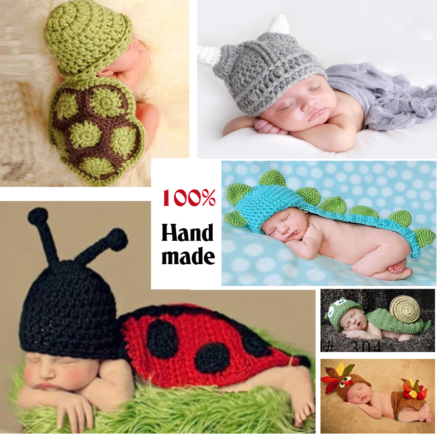 Cute Newborn Crochet Outfits Warm Set Cap Boy Cap Girl Hat Baby Cap Baby Hat For Infant Newborn Photography Prop Fotografia(China (Mainland))