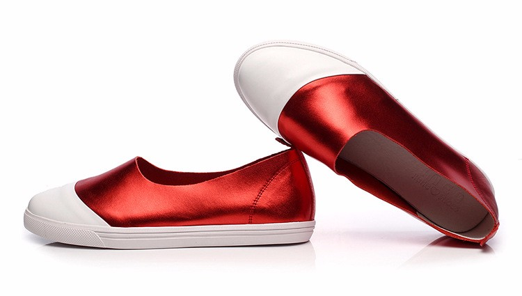 2016 Spring Summer Women Shoes Flat Shoes Genuine Leather Red Gray Loafers Shoes a Pedal Lazy Single Shoes For Women  ZK3.5