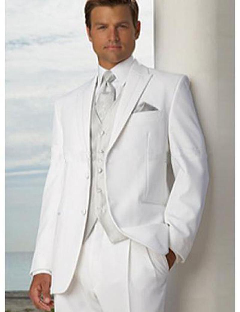 Handsome White Bridegroom suits Groom Tuxedos Mens Wedding Suits Bridegroom Best Man Clothing Prom Suits (Jacket+Pants+Vest)Одежда и ак�е��уары<br><br><br>Aliexpress