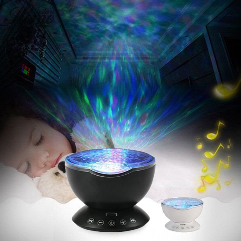 Romantic Aurora Master Projector Colorful LED Relaxing Night Light Ocean Wave Projector Pot with M3 Speaker USB Power Baby Gift(China (Mainland))
