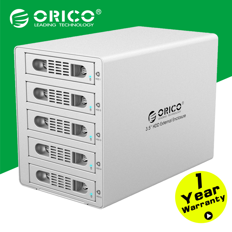 "ORICO 3559RUS3 Tool Free Aluminum 5 Bay 40TB 3.5"" SATA to USB3.0+eSATA HDD External Docking Station RAID Function 5Bay HDD Case(China (Mainland))"