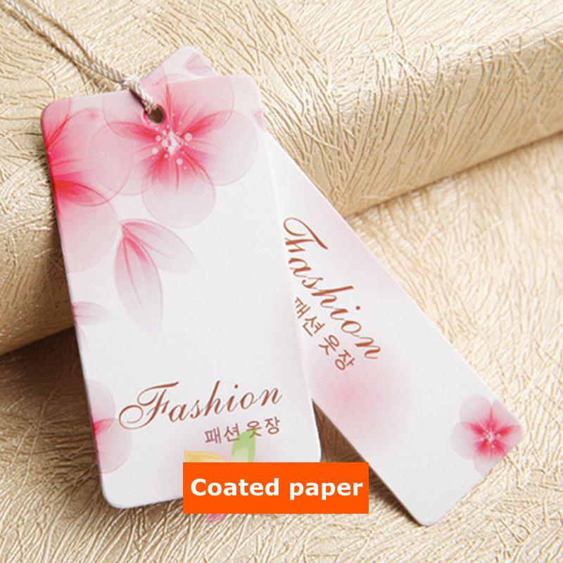 Custom Grade A 400 g Coated paper tags clothing printed Swing hang tag for dress 3000 pcs/lot(China (Mainland))