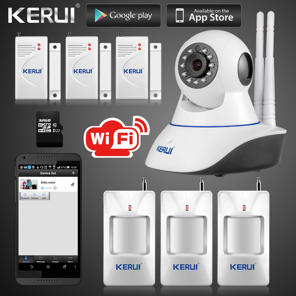 Kerui ip camera smart home intruder alarm system wireless for House alarm with camera