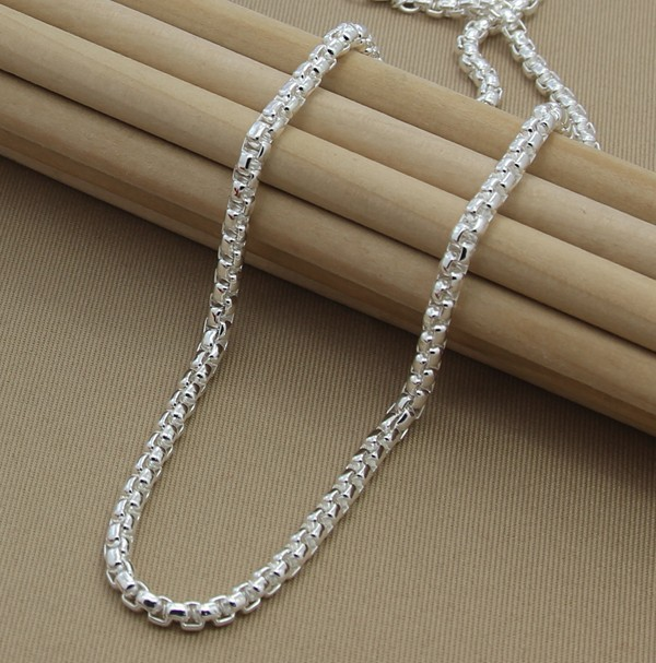 men's necklaces chains collar Free Shipping 925 Sterling Silver Necklace Fine Fashion 4mm Silver Jewelry Necklace Chains Pendant(China (Mainland))