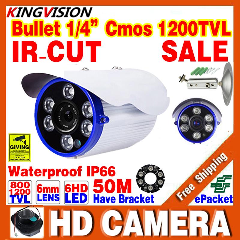 Free Shipping 1/4 Cmos 800/1200TVL  HD Outdoor IP66 Waterproof CCTV Surveillance Security Camera Infrared Night Vision 50M Video
