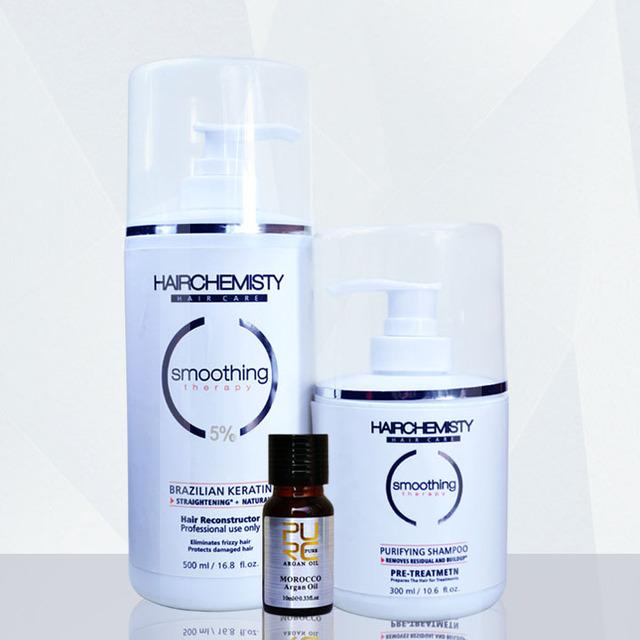 Кератин 500 мл 5% формальдегида выпрямления волос уход за волосами и 300 мл очищающий ...