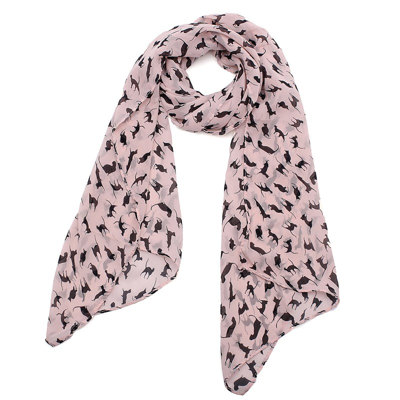 2015 HOT New Graffiti Cat Kitten Print Scarf Wraps Chiffon Silk Scarves Black Color Wrap Shawl Women Clothes Accessories Jewelry(China (Mainland))