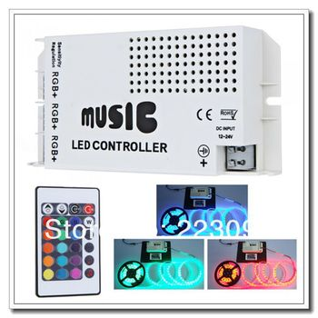 High quality 12-24V 24 Key Wireless IR Remote Control LED Music Sound Controller Dimmer for RGB LED Strips 10pcs/lot Via DHL