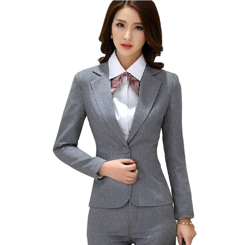 Simple Fashion Women Suits Set 2017 Office Lady Long Blazers Plaid Pants Suit