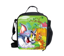 new fashion 2015 animal 3D printing Tom and Jerry lunch bag for boy,children shoulder cat and mouse picnic bags,thermal lunchbox(China (Mainland))