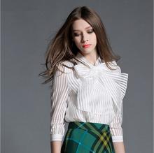 New Fashion Elegant 2016 Ladies Office Shirts Long Sleeve Bow Striped Chiffon Women Blouses Plus Size S-XXL Women Tops Spring