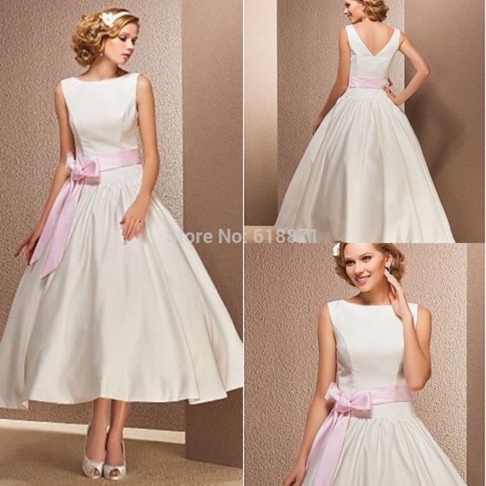 Simple Satin Wedding Dresses With Pink Sashes High Neck Tea Length Bridal Gow