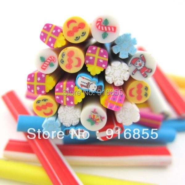 Free Shipping 100pcs 3D Mix Christmas Cartoon  Fimo Clay Slice Nail Art Tips UV Acrylic Decoration Wheel